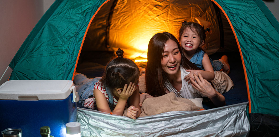 mum children tent indoors camping