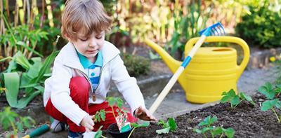 small boy gardening