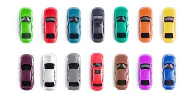 selection cars in different colours, shapes and sizes