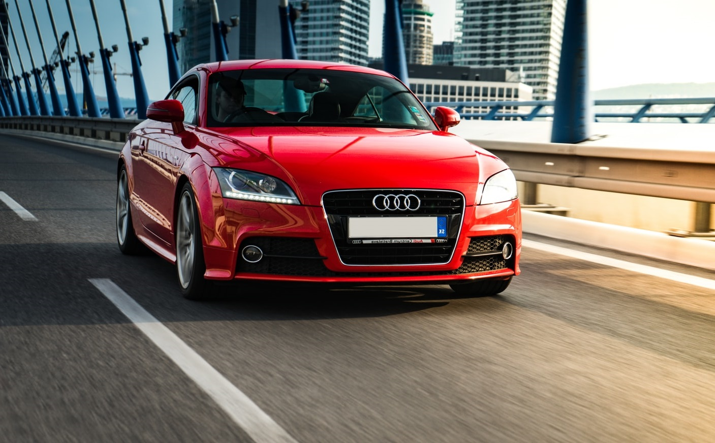 Red Audi TT on the road