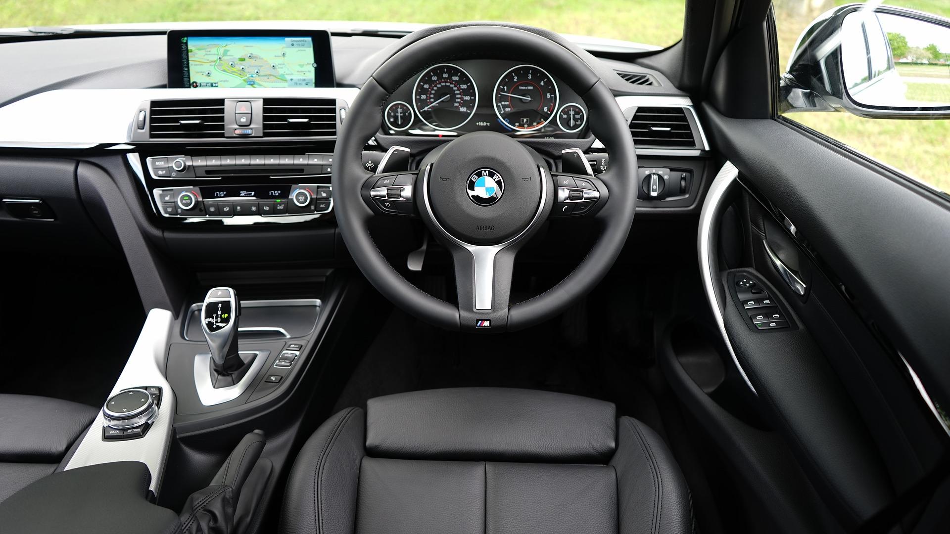 Interior of black BMW X1 car