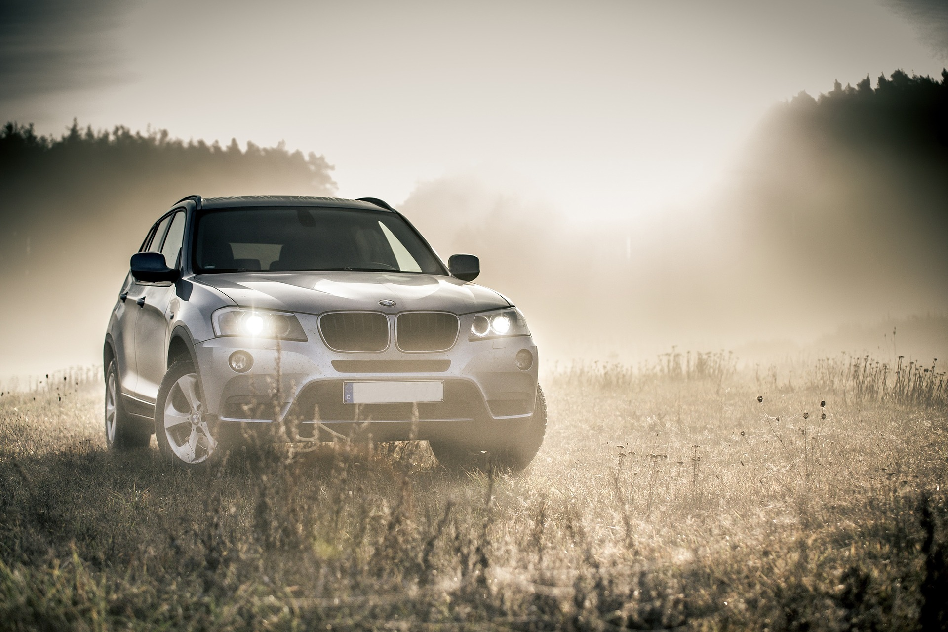 Grey BMW X1 in sunny countryside