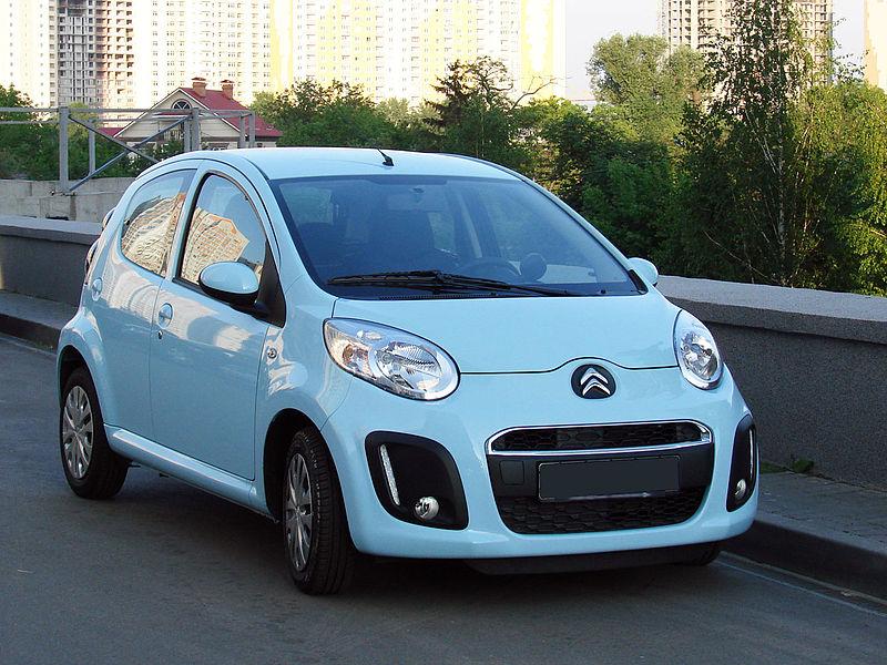 Baby blue parked Citroen C1