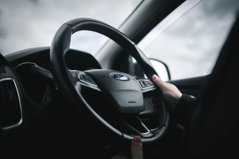 Black Ford steering wheel