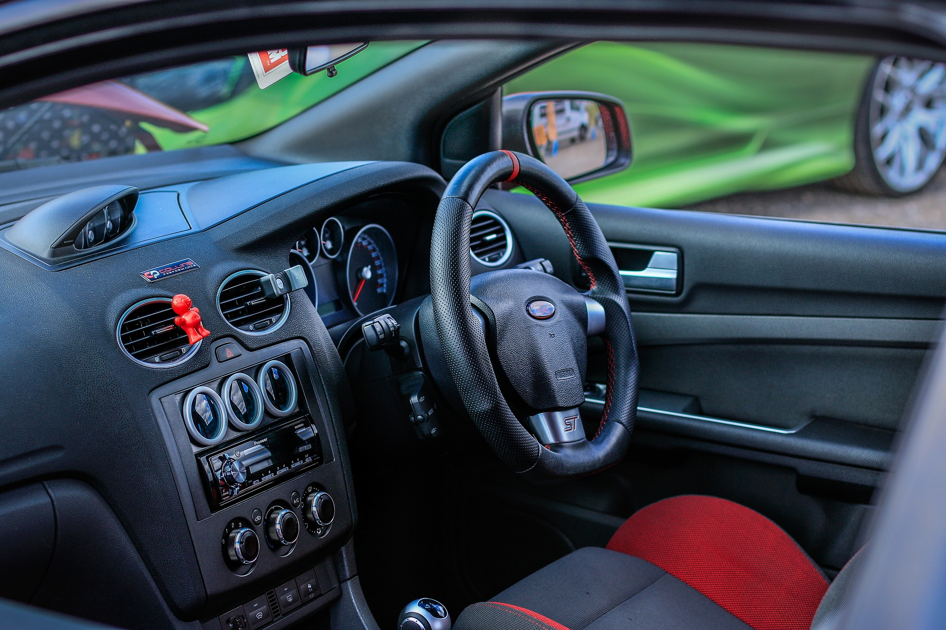 Red and black Ford Focus interiror