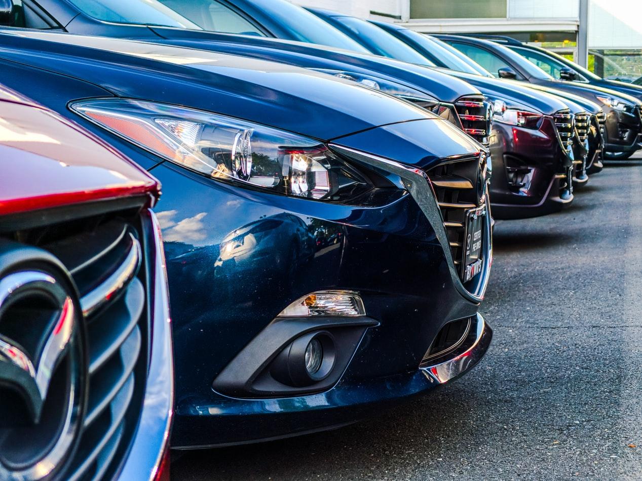A row of Mazda cars