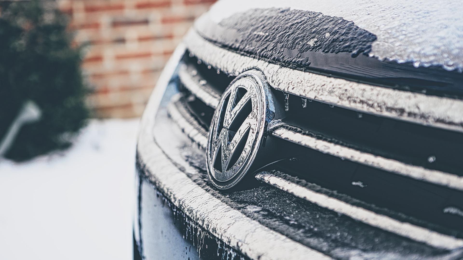 Volkswagen golf badge in snow