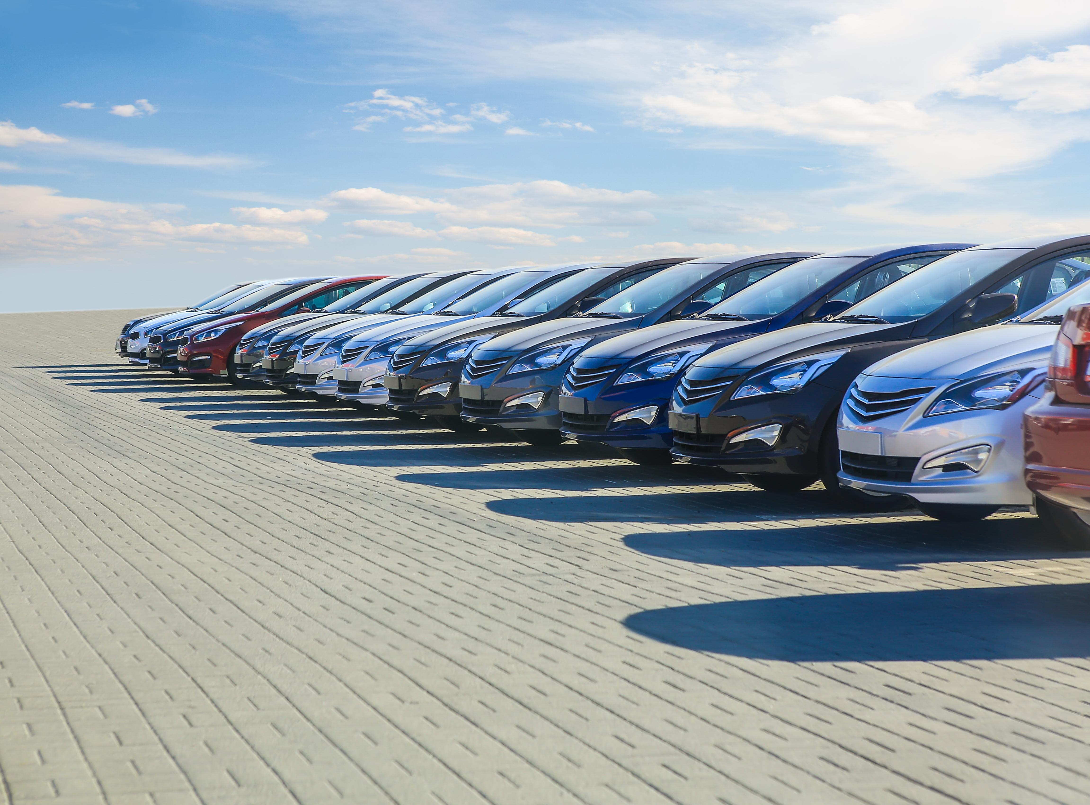 Volkswagen cars in row