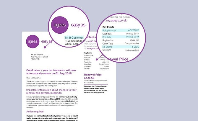 Ageas renewal letter mock up