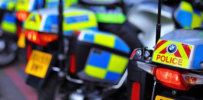 row of police vehicles