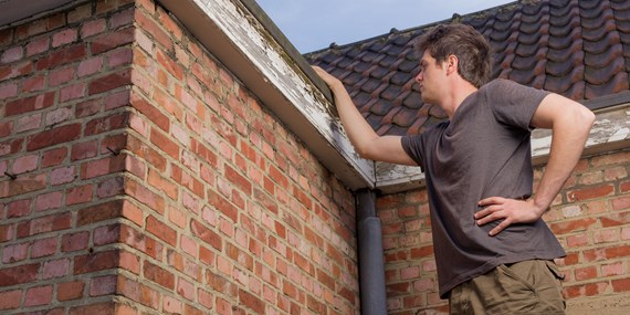 man inspecting the roof of his home