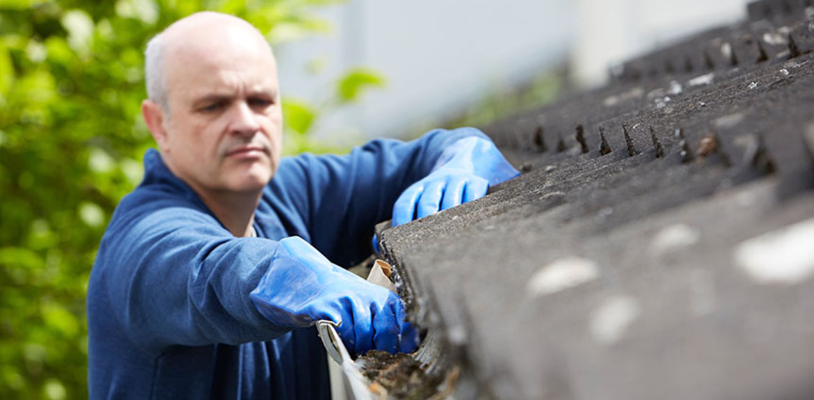 man on ladder clearing leaves from roof guttering
