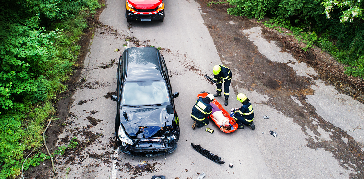 emergency services at the scene of a car accident