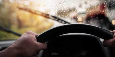 driving steering wheel rain