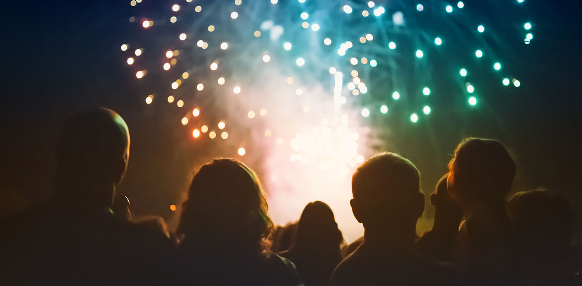 crowd of people watching fireworks on bonfire night