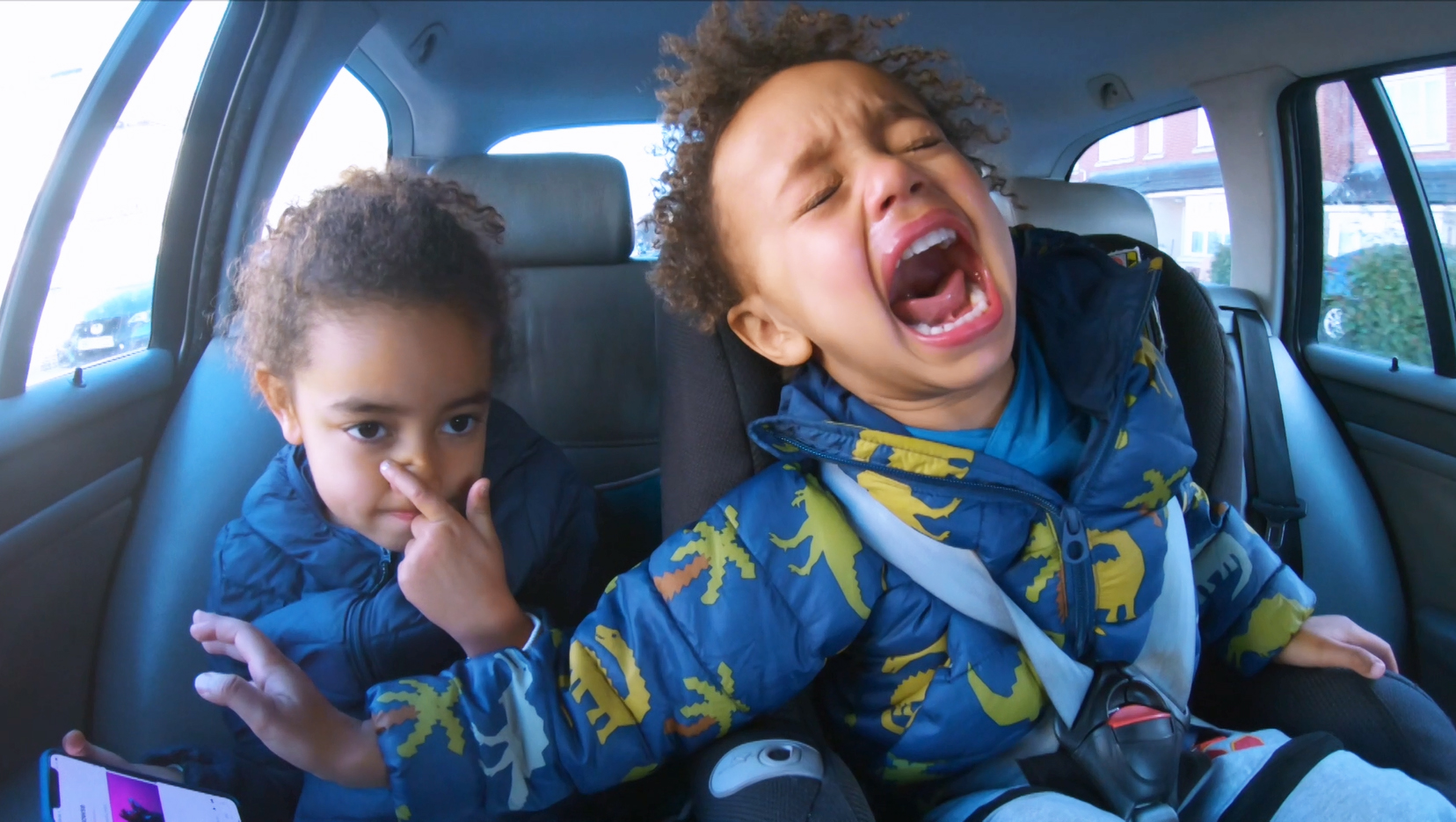 Two brothers screaming in the car