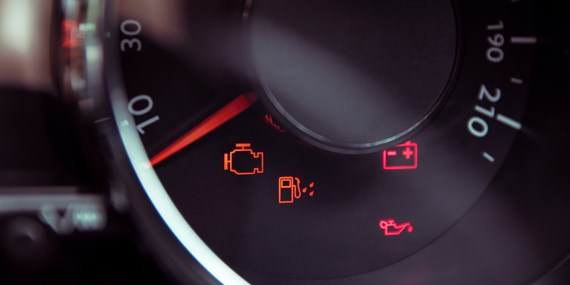 warning lights on a car's dashboard