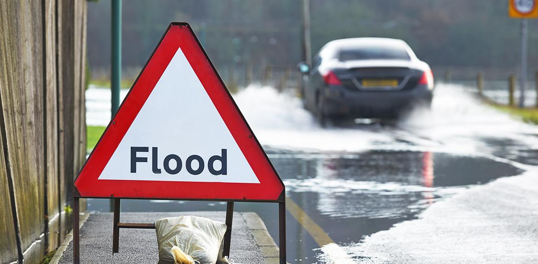 car flooded road