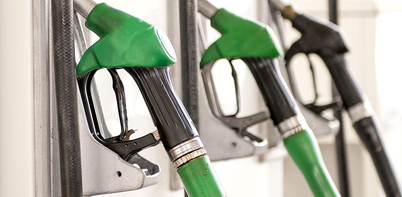 pumps at a petrol station