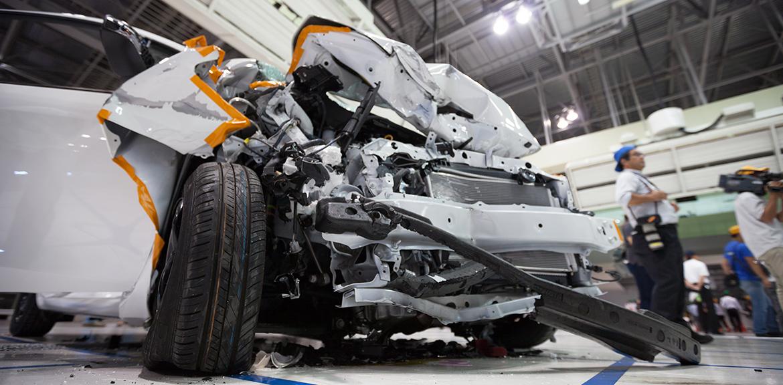 crushed white car