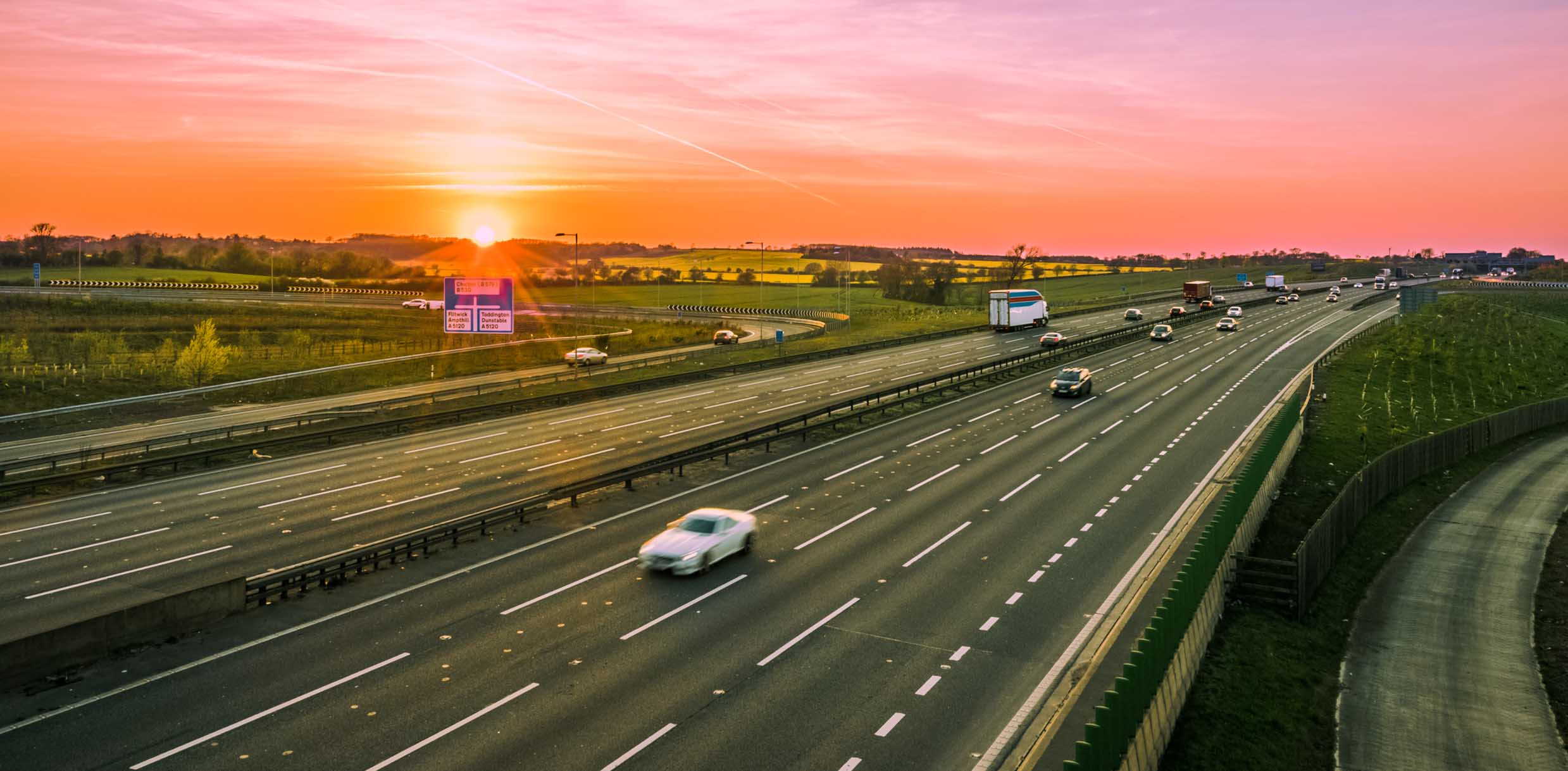 cars driving on motorway