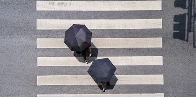 pedestrian crossing birds-eye-view
