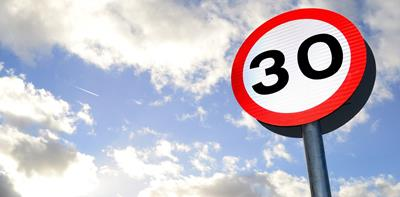 30mph speed sign sky
