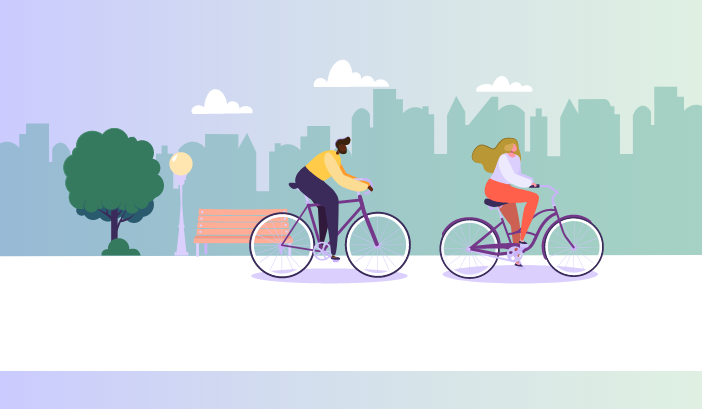 Man and woman cycling through town illustration