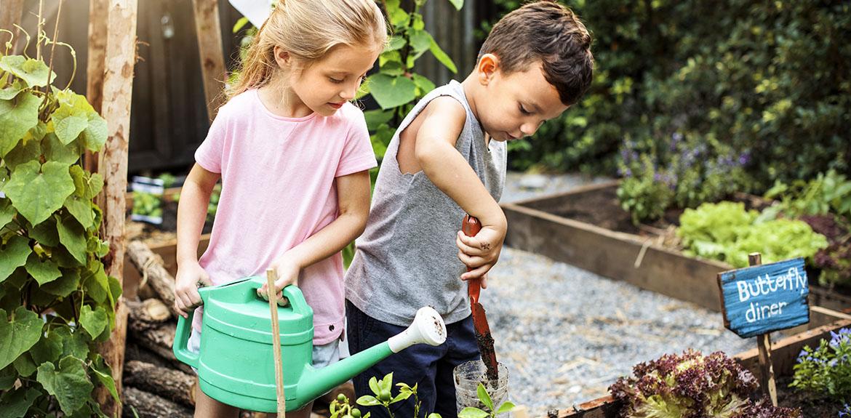 children watering plants garden